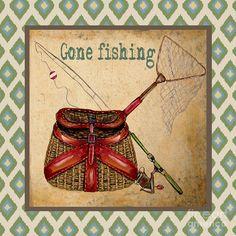 Gone Fishing-ikat Painting