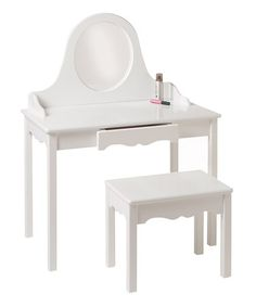 White Vanity & Bench by Little Colorado on #zulily