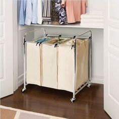 Laundry Sorter Cart 3 Bag Hamper Rolling Storage Basket Clothes Organizer Chrome #Unbranded