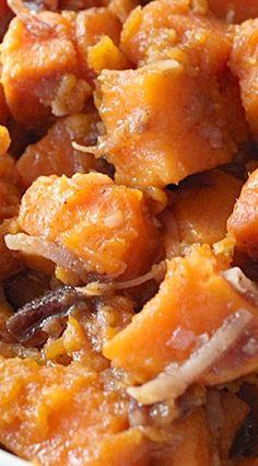 Coconut Pecan Sweet Potatoes--sub earth balance butter Sweet Potato Pecan, Sweet Potato Casserole, Sweet Potato Recipes, Yam Casserole, Casserole Recipes, Coconut Dessert, Coconut Pecan, Coconut Oil, Thanksgiving Recipes