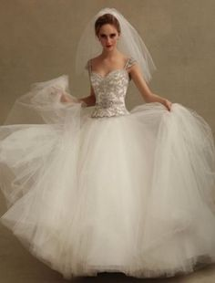 Sweetheart A-Line Wedding Dress  with Dropped Waist in Tulle. Bridal Gown Style Number:32614489