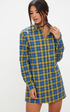 Red Checked Shirt DressChannel effortless cool vibes in this shirt dress. Featuring a checkered p...
