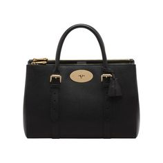 Bayswater Double Zip Tote in Black Shiny Goat |