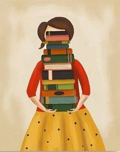 Librarians always laughed when I asked the limit for check outs--but I walked out with 25 books more than once. Reading Art, Woman Reading, I Love Reading, Reading Books, I Love Books, Books To Read, My Books, Pile Of Books, Illustrations
