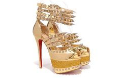 Free shipping CL brand sandals golden studded platform high heel pumps women's glitter mirror heels spikes diamond red bottoms shoes.Email:fashionshopping2011@gmail.com,whatsapp or wechat:+86-15805940397