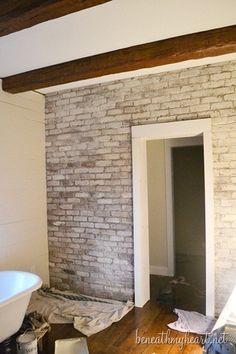 How to White Wash Brick {Bathroom Update}   Beneath My Heart