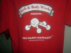 Bath & Body Works Happy Massager Tee, mid-'90s (Probably a promotional shirt worn by employees)