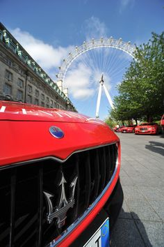 Red Maserati's getting ready to leave London's Dorchester hotel on the charity fundraising Cash & Rocket Tour. May 2015