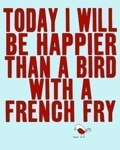 Illustration Print - Typography Screen Print - digital print, top selling, quote artwork, bird french fry - SO VERY HAPPY  (red)