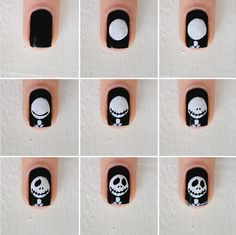 jack skellington nail art tutorial