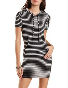 Hooded Striped Bodycon Dress #charlotterusse #charlottelook