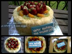 chocolate cake covered with cheese and topping with fruit @dapur mama norma.
