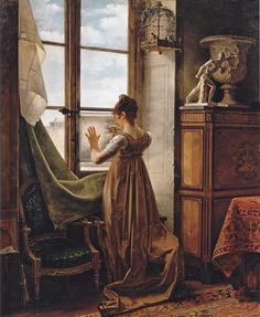 At the Window - Martin Drolling At the Window. Martin Drolling (aka the Elder, French 1752-1817). Oil on canvas. National Pushkin Museum, Moscow. The girl trac...