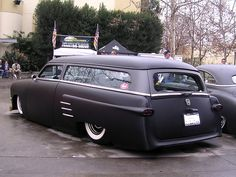 "Chopped and dropped 49-51 Ford ""shoebox"" station wagon."