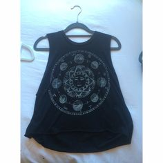 Brandy Melville cropped tank Black crop top with pattern in white Tops Crop Tops