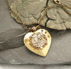 Steampunk Heart Necklace Brass Valentine Jewelry by DesignsBloom