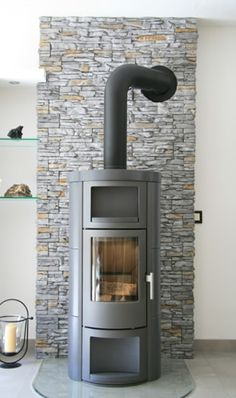 Facing stones can perfectly complement almost any living style Fireplace Frame, Stove Fireplace, Fireplace Design, Wood Stove Installation, Modern Wood Burning Stoves, Wood Stove Heater, Log Burner, Living Styles, Family Room