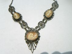 1800'S VICTORIAN FILIGREE STERLING SILVER CAMEO NECKLACE