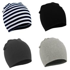 Baby slouch beanie in black charcoal grey and stripes