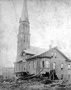 black and white photo of surviving church steeple and building Johnstown Flood, Mystery Of History, Church Building, Lutheran, Black And White Pictures, Destruction, Historical Photos, Photo Galleries, Surfing