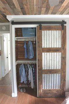 DIY barn door can be your best option when considering cheap materials for setting up a sliding barn door. DIY barn door requires a DIY barn door hardware and a Barn Door Closet, Diy Barn Door, Sliding Barn Door Hardware, Sliding Doors, Front Doors, Panel Doors, Entry Doors, Door Latches, Rustic Hardware