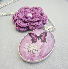 "Be Yourself - by Starzyia on madeit purple butterfly art design with reminder note ""be yourself, that's when the magic happens"""