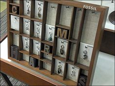 We are at least two complete technologies beyond the hot metal letterpress typesetting of this Fossil Upcycles a Vintage Type Case representation. Silhouette Sign, Visual Merchandising Displays, Vintage Type, Type Setting, Jewellery Display, Charm Jewelry, Letterpress, Recycling, Holiday Decor