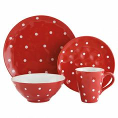 Bright and bold, the Sprinkle Collection from Maxwell & Williams adds fun to your kitchen. Crafted of stoneware, Sprinkle features organic shapes and is hand-finished with an embossed sprinkle of white dots.  This 4 Piece Dinnerware Set is available in every color of the rainbow. Mix and match coordinating hues to add that extra pop of color. Show your artistic side with your pick of red, orange, yellow, bright lime, sky blue and purple -- all accented with white polka dots.