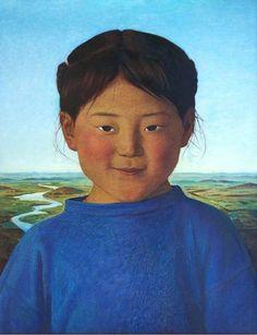 """""""Retrato de Sarula"""". Xue Mo (pintora nacida en Mongolia en 1961)."""