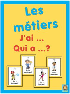 French version of the I have . This French game can be played to practice French words for professions. The game has 43 cards with a colorful frame and 43 cards with a simple black frame to save you ink. There are 4 cards per page. French Teaching Resources, Teaching French, French Adjectives, French Friend, French For Beginners, French Education, Core French, French Classroom, Sight Word Games