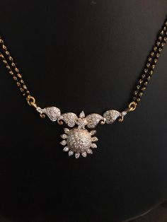black beads with diamond pendant – boutiquedesignerjewellery.com