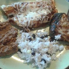 Homemade stuffed poblanos, refried beans with chorizo, Argentinean rice, and pork enchiladas with red mole sauce. Red Moles, Stuffed Poblanos, Pork Enchiladas, Mole Sauce, Refried Beans, Chorizo, Rice, Homemade, Baking