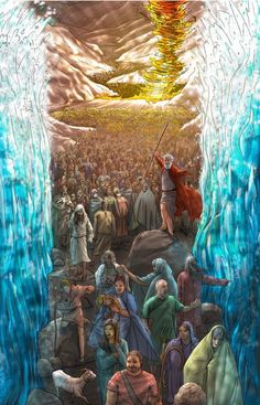 Apele marii stau ca niste ziduri si Israel trece marea Rosie pe uscat.Moses at Red Sea. I would be that first person on the right, not walking, just touching the water! Bible Pictures, Jesus Pictures, La Sainte Bible, Religion, Christian Pictures, Bible Illustrations, Jesus Art, Prophetic Art, Biblical Art