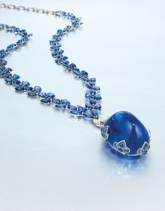 Rare Sapphire and Diamond Pendant Necklace, Mounted by Etcetera - Alain. Gems Jewelry, Sea Glass Jewelry, Gemstone Jewelry, Fine Jewelry, Jewellery, Sapphire Necklace, Sapphire Jewelry, Diamond Pendant Necklace, Diamond Necklaces