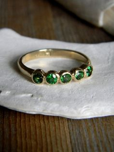 Tsavorite Green Garnet and 14k Yellow  Gold Five Stone Ring, Anniversary Band, Wedding Band or Stacking Ring.
