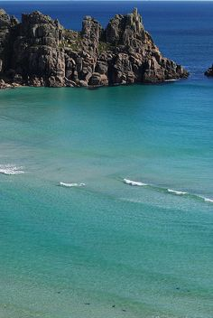 Treryn Dinas and Porthcurno Bay, Cornwall, England ...Have walked down to this beach in the early evening.