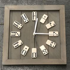 Repurposed, square clock with a handcrafted wooden frame and actual game board domino's featured for clock numbers. Clock hands are metal. Clock measures about square. Clock takes AA battery not included. Colors may vary slightly from image, ea Pot Mason Diy, Mason Jar Crafts, Floating Shelves Diy, Diy Wall Shelves, Clothes Crafts, Wood Projects, Diy Furniture, Furniture Market, Furniture Vintage
