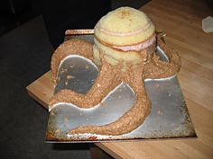 how to make an octopus cake   For the tentacles I made some praline feullitine candy that learned ...