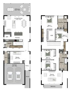 Strata is a small lot and narrow block home design by GW Homes, the leading Brisbane home builders. House Plans 2 Story, Narrow House Plans, House Layout Plans, New House Plans, Dream House Plans, House Layouts, Duplex Floor Plans, Modern House Floor Plans, Pool House Plans