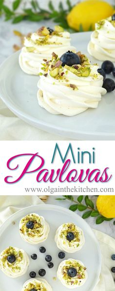 Mini Pavlova – Olga in the Kitchen Mini Pavlova – Olga in the Kitchen,cupcakes. & cookies Mini Pavlovas: beautiful, delicious, bite-size dessert for any occasion; crispy on the outside, chewy on the inside. Mini Desserts, Bite Size Desserts, Healthy Desserts, Easy Desserts, Dessert Recipes, Rice Recipes, Trifle Desserts, Baking Desserts, Chef Recipes
