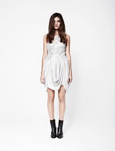 love the shape of this dress, ankle booties | AllSaints