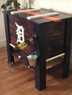 DIY Detroit Tigers wooden cooler box! Diy Cooler, Cooler Box, Wooden Cooler, Detroit Tigers, Small Towns, Pirates, Etsy Seller, Rustic, Create