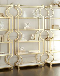 Bernhardt Hayworth Brass Etagere Tubular steel frame with polished-brass finish. Home Decor Furniture, Home Furnishings, Gold Furniture, Furniture Design, Grey Interior Doors, Gold Shelves, Glass Shelves, Living Room Inspiration, Modern Decor