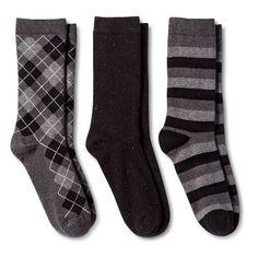 Women's Crew Socks 3-Pack Black All Over Argyle One Size - Merona™