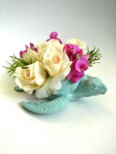 "Mint Green Sea Turtle Planter - DIY Modern Fresh Cut Flower Centerpiece - 13"" Large Sea Turtle Planter"