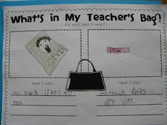 "Fill an old purse with ""essential items."" Pass it around the classroom, letting kids pull one item out, examine it, and put it back in the bag. Then fill out the ""what's in my teacher's bag?"" page to INFER why your teacher would need that item.... Then do the same with the [clean] trash! Great inference lesson!"