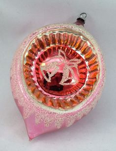 Vintage 1960 s Hand Blown Glass Christmas Ornament~Indent~Pink~USED