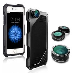 """DQWK iPhone 7 Camera Lens Kit, 3 in 1 Lens Kit, 198° Fisheye + 15X Macro + 0.63X Wide Angle Camera Lens with IP54 Dustproof Shockproof Aluminum Case and Tempered Glass Screen Protector (Black). This product is manufactured in processes with CNC,it use aerospace aluminum which has advantages of high hardness and lightweight,it subverts the three characteristics of traditional mobile phone shell which applied to""""3-proof"""":heavy and bad hand feeling ,v6 achieves in a real sense of light、thin…"""