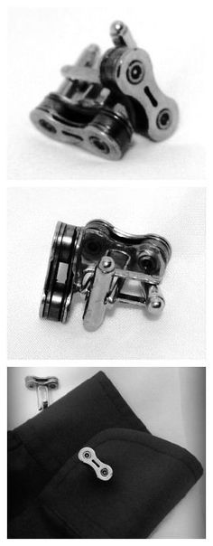 Repurposed upcycled chains have been handcrafted into original cufflinks for the bike enthusiast who is out on the town. Feel good about helping the environment while decorating your attire. These are great for gifts or personal use. Each item handcrafted especially for you out of sustainable... #Bike, #Chain, #Metal, #Steel, #Tie