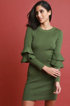 This knitted sweater dress features a sculpture bodycon fit, round neckline, long sleeves with double trumpet tier at quarter sleeves, and mini length hem.Measurement Size Bust Waist Hip Length Sleeve S 24 19 26 21 M 26 21 28 L 28 23 30 Midi Cocktail Dress, Knit Sweater Dress, B & B, Designing Women, Bodycon Dress, High Neck Dress, Sleeves, Sweaters, Clothes
